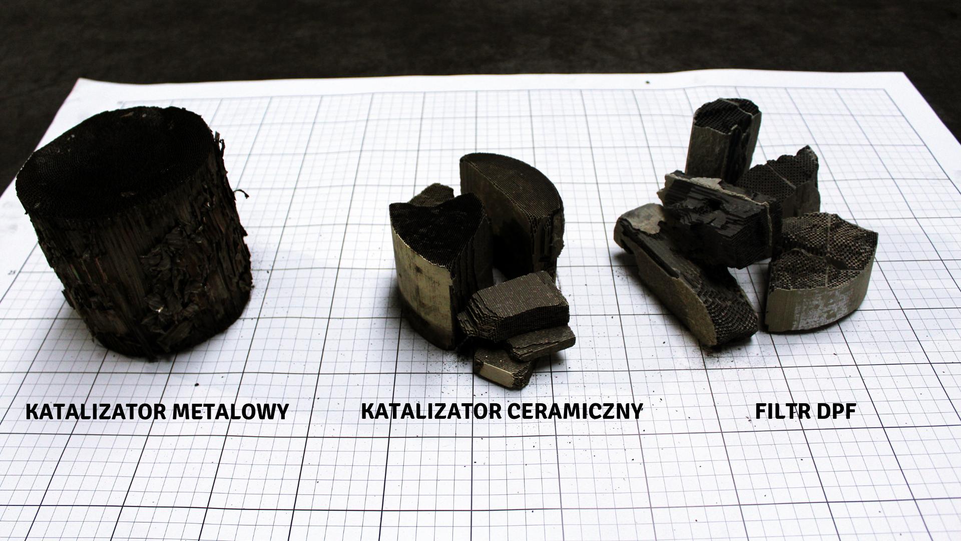 Katalizator metalowy, ceramiczny i filtr DPF